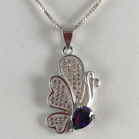 Gem Emporium Jewelry - Sterling Butterfly Necklace with Amethyst & CZ's